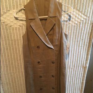 Sleeveless tan with belt linen dress
